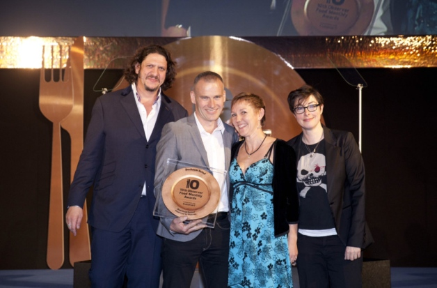 Pictured: David Newman, second from left, with partner Tracy Russell, third from left, and awards celebration co-hosts, Observer restaurant critic, Jay Rayner, and The Great British Bake Off presenter, Sue Perkins.